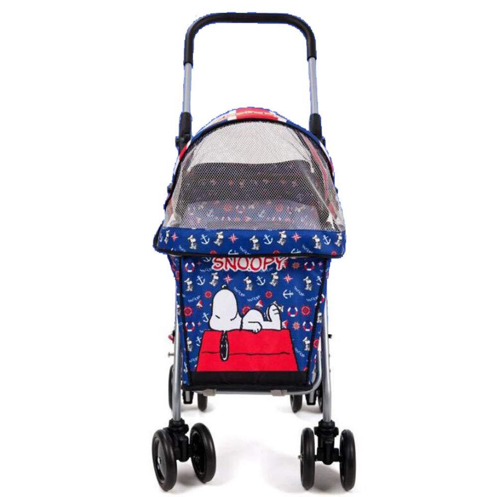 Four Wheels Pet Strolle Lightweight Foldable Dog/Cat/Cart Adjustable Armrest Pet Cage 360-Degree Front Wheel Rotation-Navyblue