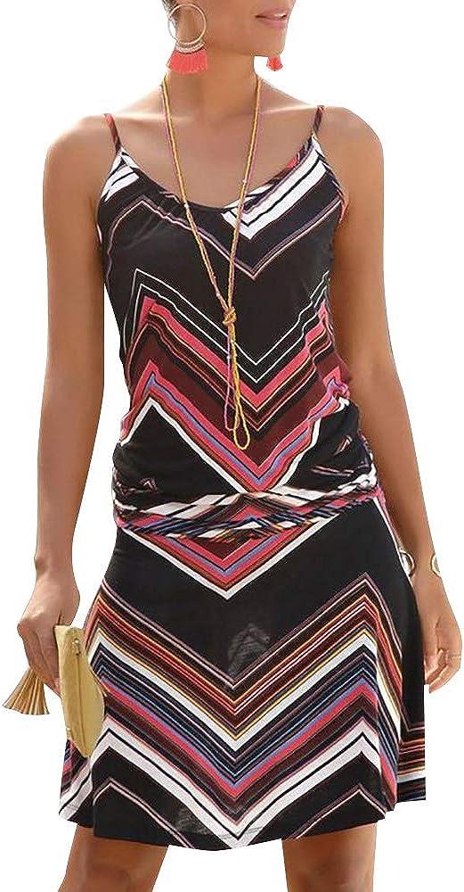 Jusfitsu Womens Summer Casual Dress Strappy Cotton Midi Beach Dresses Print Flare Beachwear Stretchy S-2XL