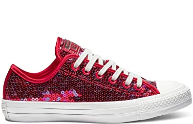 Converse Chuck Taylor All Star Sequin Women's Low Top Sneaker, RedCherry Red