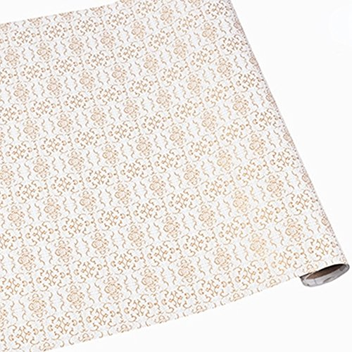 SimpleLife4U Luxury Gold Paisley Wallpaper Peel and Stick Contact Paper Decorative Shelf Liner 17.7 Inch by 9.8 Feet by SimpleLife4U (Image #3)