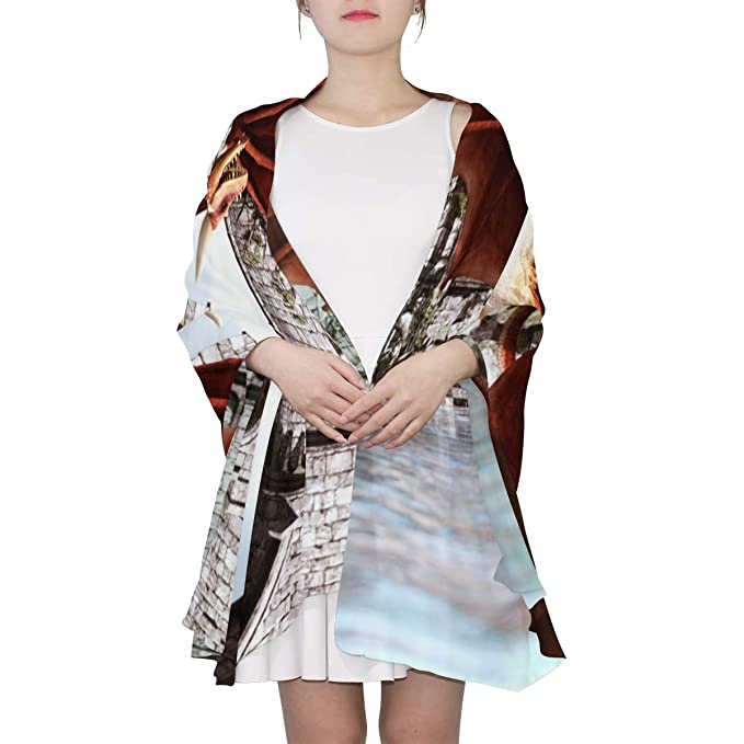 1d344d8f73a Knights And Dragons In Magic Landscapes Unique Fashion Scarf For Women  Lightweight Fashion Fall Winter Print