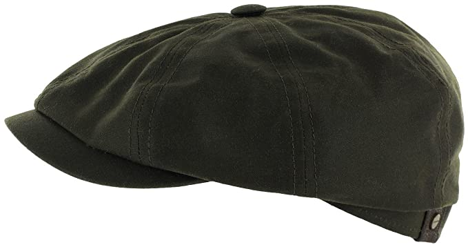 36080b0b84d Stetson Hatteras Waxed Cotton Waterpoof Newsboy Cap at Amazon Men s ...