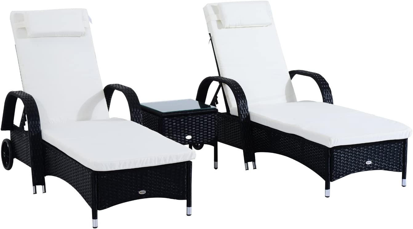 Outsunny 3 Piece Wicker Patio Chaise Lounge Set