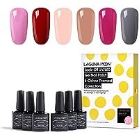 Lagunamoon Gel Nail Polish Soak Off UV LED Gel Nail Colours Nail Art Set 6pcs
