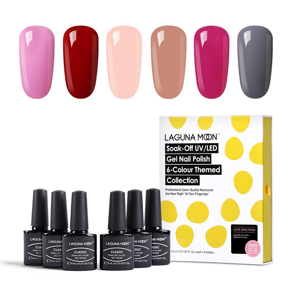 Lagunamoon Gel Nail Polish Soak Off UV LED Gel Nail Colours Nail Art Set 6pcs N613869737569