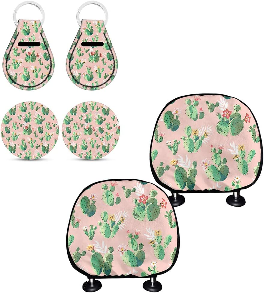 2pcs Headrest Cover,2pc Cup Coaster for Womens Girls Cactus Design Elastic Seat Headrest Cover,Full Wrap Cover Universal Fit Green chaqlin 2pc Keyring
