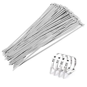 GWHOLE 100 Piezas Bridas de Acero Inoxidable Sujetar Cables Tubo de Acero Colector de Moto Sujetacables Metalicas - 300 * 4,6mm