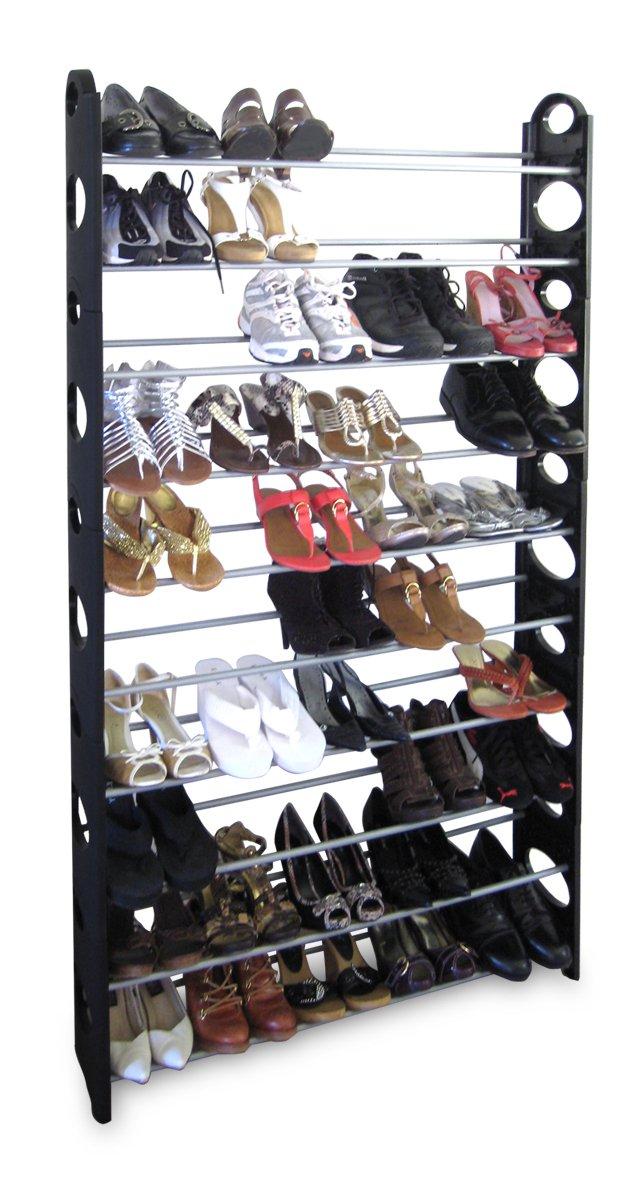 Home Basics 50-Pair Shoe Rack, Black