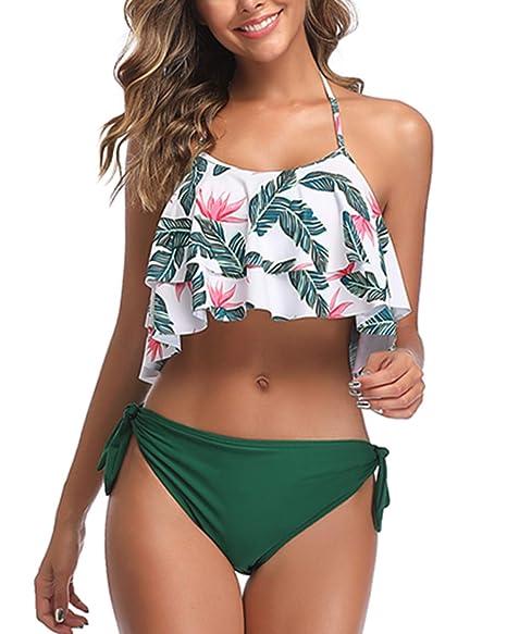 Amazon.com: BeachQueen Halter Flounce - Trajes de baño para ...