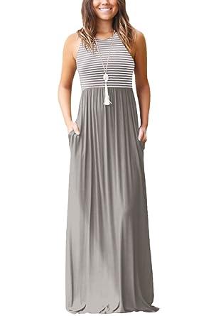 new product fb370 5e148 Damen Sommer Kleid Lange mit Tasche Frauen Gelegenheits ...