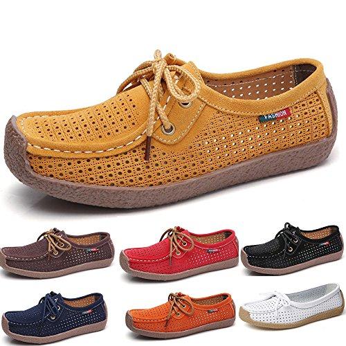 De Mocassins Les En on Pour Confortable Plats Jaune Véritable Slip De Des Mocassin Chaussures Cuir Respirant Femmes Creux Conduite Chaussures Dames Occasionnels 6qr6wExn