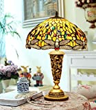 Makenier Vintage Tiffany Style Yellow Stained Glass Dragonfly Big Table Lamp with Golden Base - 16 Inches Lampshade