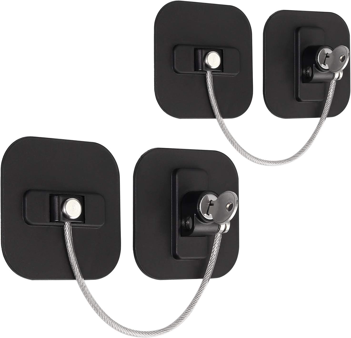 eSynic 2 piezas Seguridad de Refrigerador Cerradura de la Puerta del Refrigerador con Llave para la Seguridad del Bebé Utilizado en Refrigeradores Congeladores Armarios Secadoras Lavadoras-Negro