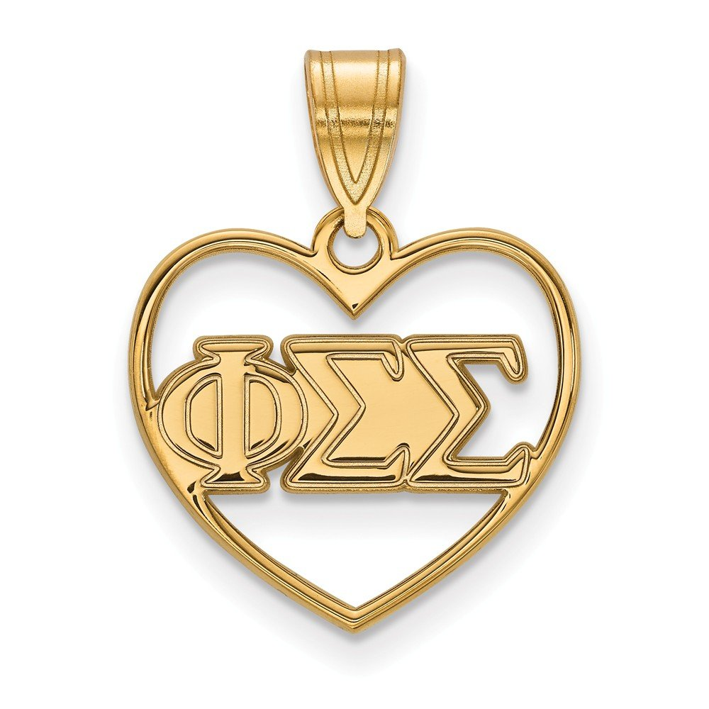 Jewel Tie 925 Sterling Silver with Gold-Toned Phi Sigma Sigma Heart Pendant