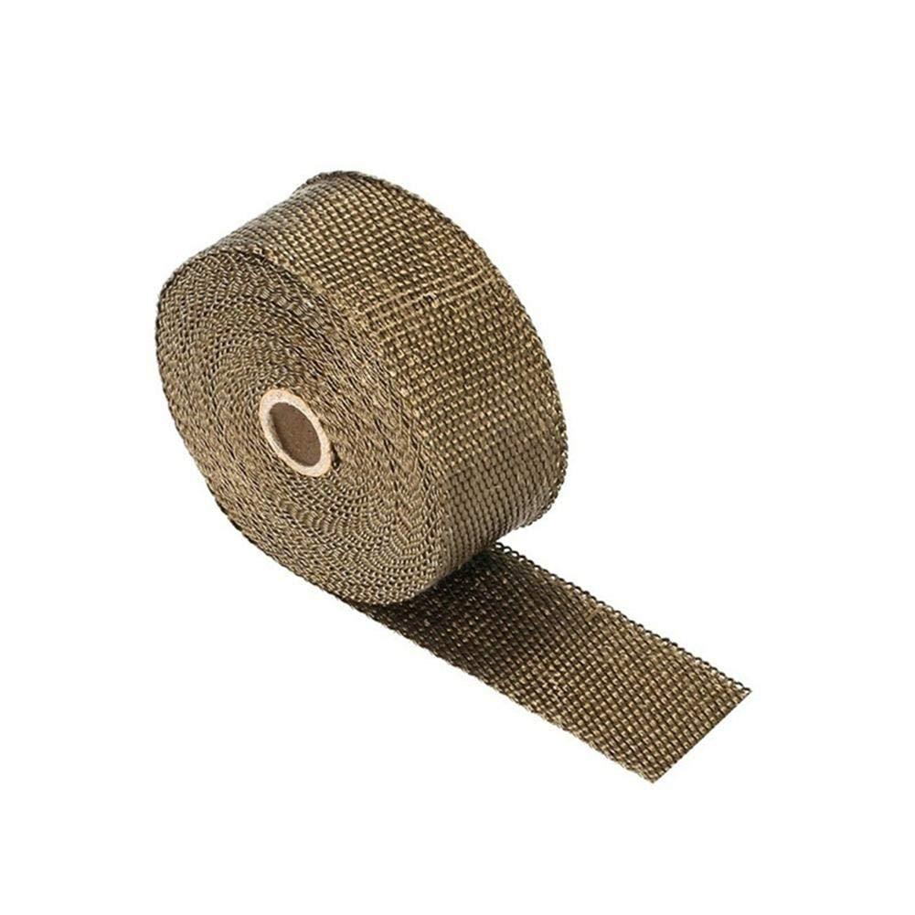 Qiilu Hitzeschutzband Basaltfaser Auspuffband 10M mit 10 pieces Kabelbinder f/ür F/ächerkr/ümmer Thermoband Kr/ümmerband/