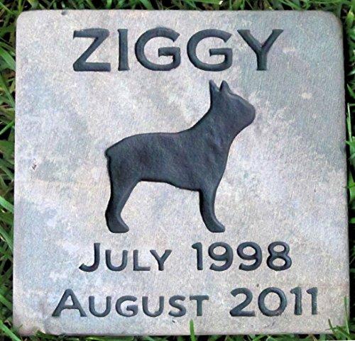 Boston Terrier, Dog Memorial Stone, Pet Memorial Stone, Pet Grave Marker, Garden Stone, Headstone, 6 x 6 Slate (Graves For Headstones Slate)