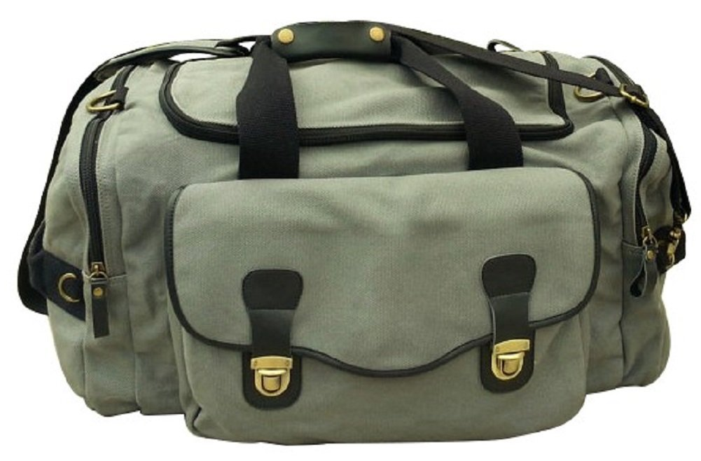 Oversized Canvas Duffel Bag, Grey, Genuine Leather, Brass Fittings, Military Style, Weekender …