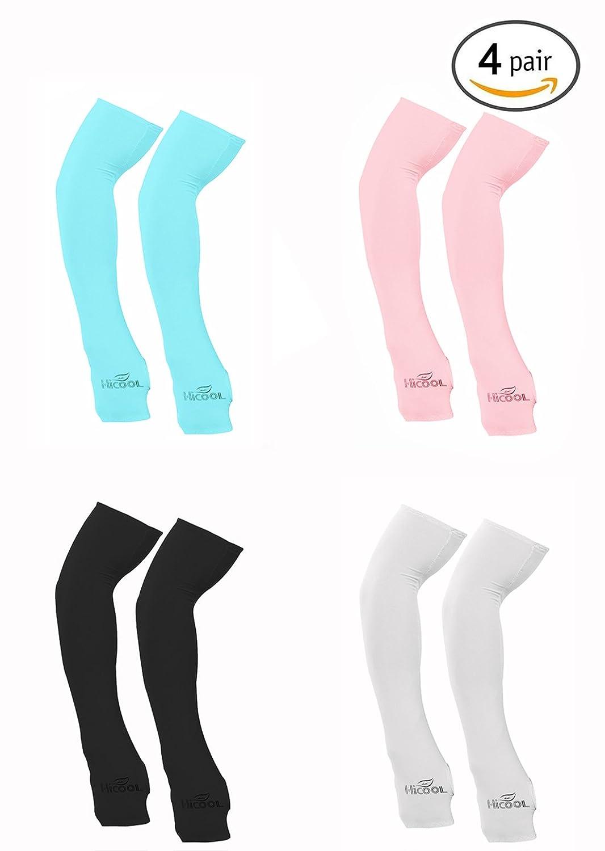 4Pair HICOOL Elastic Arm Sleeves Cover UV Sun Protection Sports Black Gray White