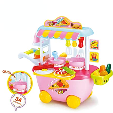 3f6912ea003 Erencook Kitchen Cooking Pretend Playset Food Truck Cart Play Set Kitchen  Tableware Trolley with Lights and