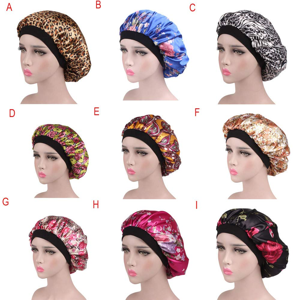 USA Women Silky Long Satin Bonnet Sleep Cap High Hair Band Nightcap Chemo Caps