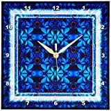 3dRose dpp_42575_1 Fractals Art Blue Glowing Psychedellic Energy-Wall Clock, 10 by 10-Inch