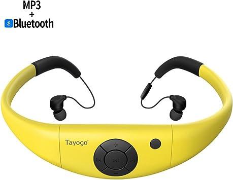 Tayogo Lecteur MP3 Etanche Casque Bluetooth Natation Ecouteurs Imperméable HI FI IPX8 8GB Ultra Léger sous l'eau 3M FM Bluetooth 4.2 APP Disque U pour