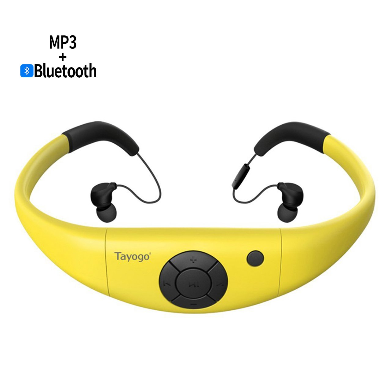 Tayogo 8GB Waterproof MP3 Player, Bluetooth Swimming Headset Underwater 10FT with FM APP Flash Drive for Swimming Running Riding Walking Spa, with Shuffle Feature - Yellow
