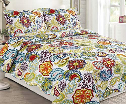 Sapphire Home 3 Piece Queen Size Bedspread Coverlet Quilt Bedding Set w/2 Pillow Shams, Multicolor Bright Colorful Paisley Pattern White Purple Green Blue Red, Queen XJ2162