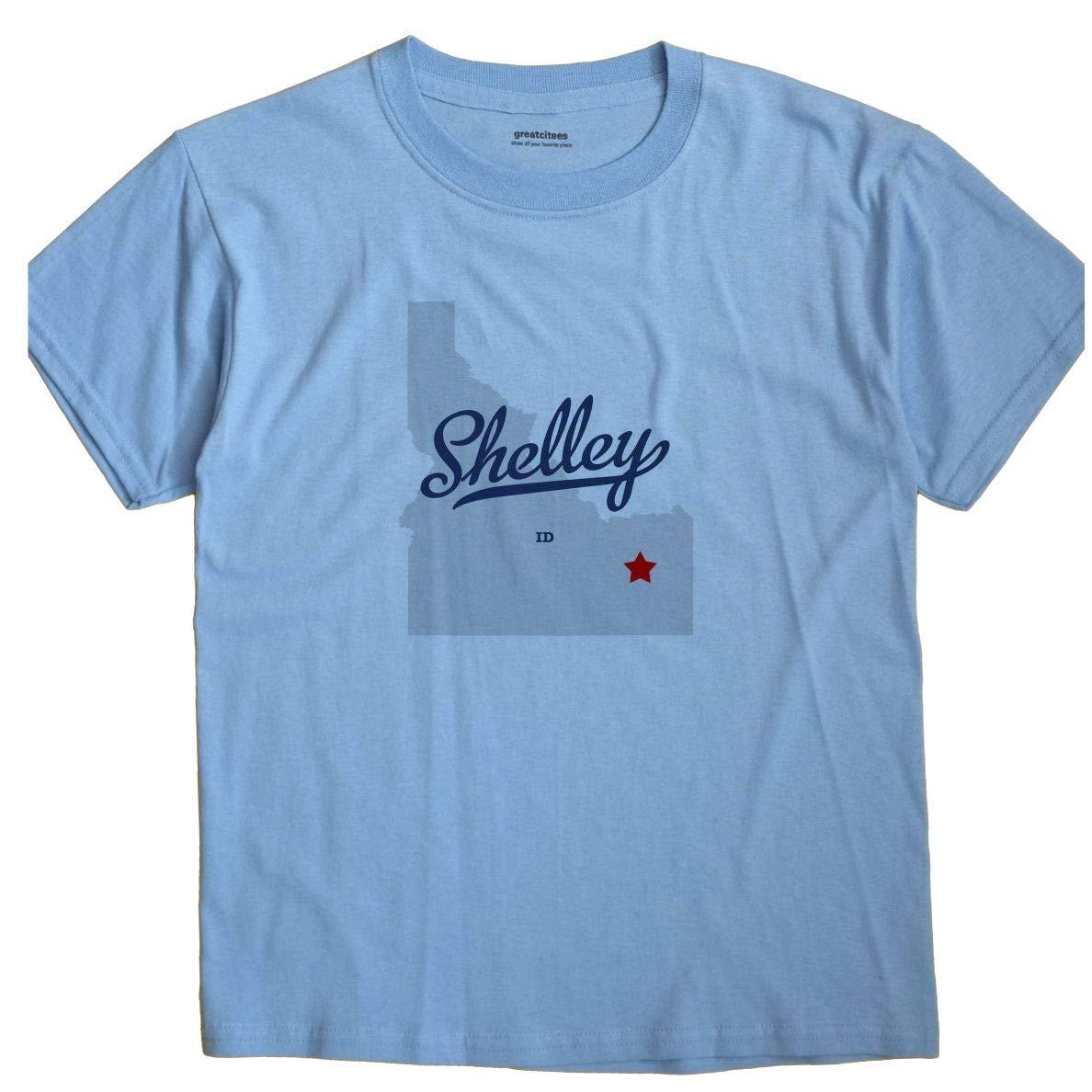 Greatcitees Shelley Idaho Id Map Unisex Souvenir T Shirt Amazon Com