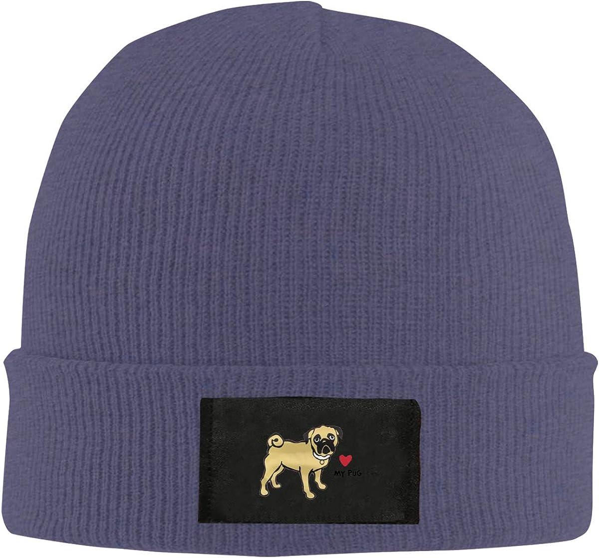 Unisex Stylish Slouch Beanie Hats Black Pug Love Top Level Beanie Men Women