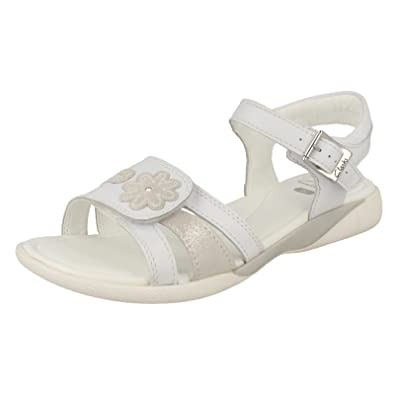 15ecec9b7c447 Clarks Girls Velcro and Buckle Sandals Hazy Fay - White - Size UK 2.5F -