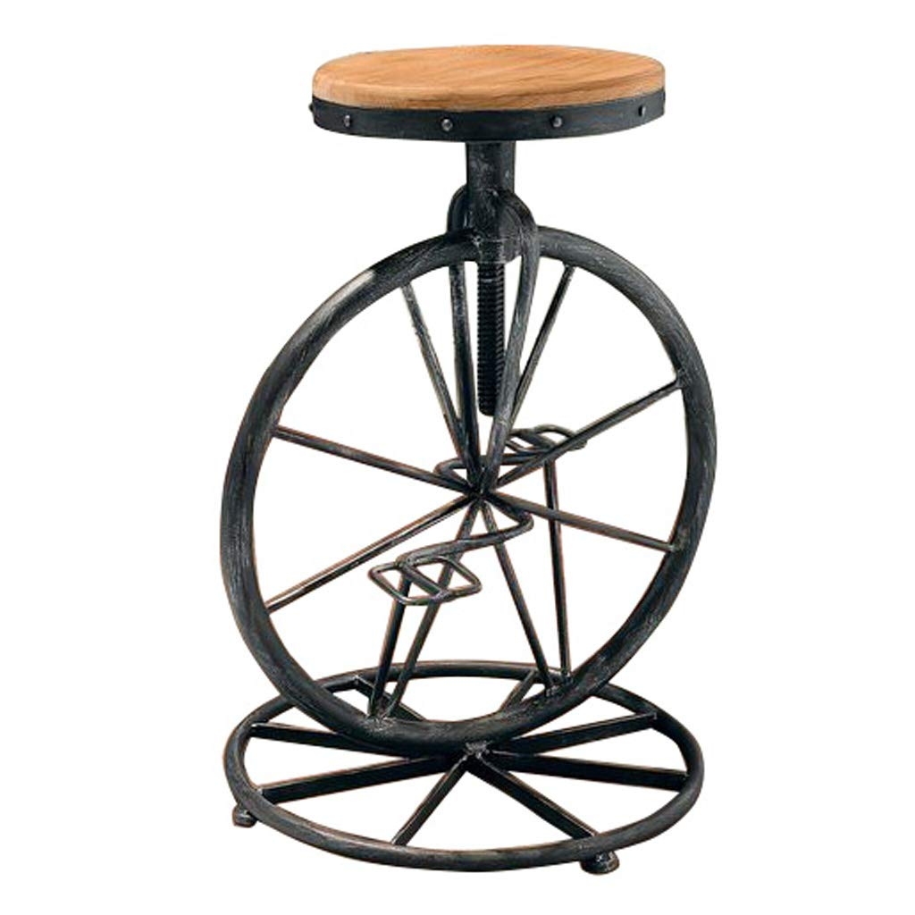 2 Barstool Breakfast Bistro Pub Counter Leisure Cafe Footrest Adjustable 65cm80cm Kitchen Vintage Metal Iron Creative Bicycle Industrial Style