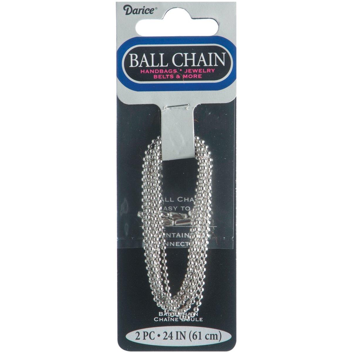 Ball Chain 1.8mmx24'' 2/Pkg-Silver-Plated