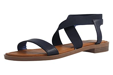 Fitters Footwear Jill - Damen Sandalen - Blau Schuhe in Übergrößen, Größe:43