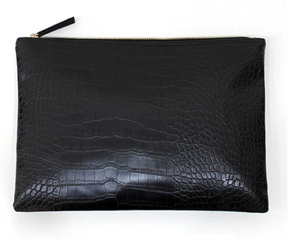 NIGEDU Women Clutches Crocodile Grain PU Leather Envelope Clutch Bag