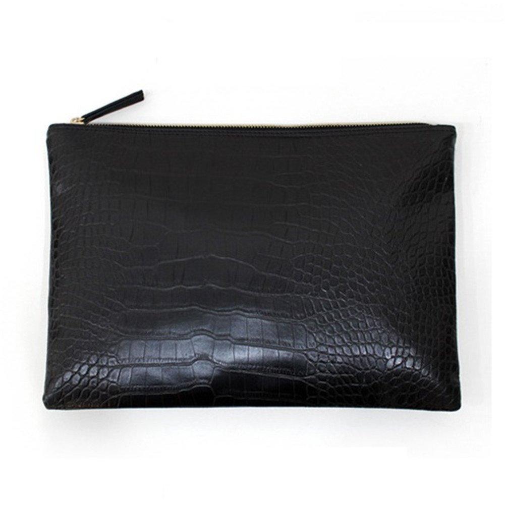 NIGEDU Women Clutches Crocodile Grain PU Leather Envelope Clutch Bag (Black)