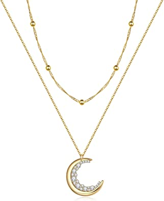 gold layering necklace silver or gold crescent moon cresent moon choker crescent moon charm Dainty gold necklace Crescent moon necklace