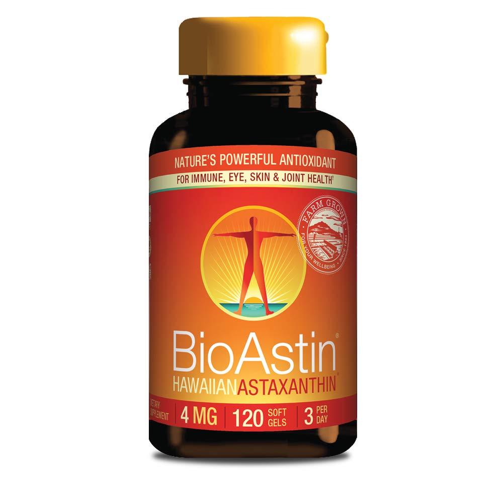 BioAstin Hawaiian Astaxanthin 4mg, 120 Count - Hawaiian Grown Premium Antioxidant - Supports Recovery from Exercise + Joint, Skin, Eye Health Naturally
