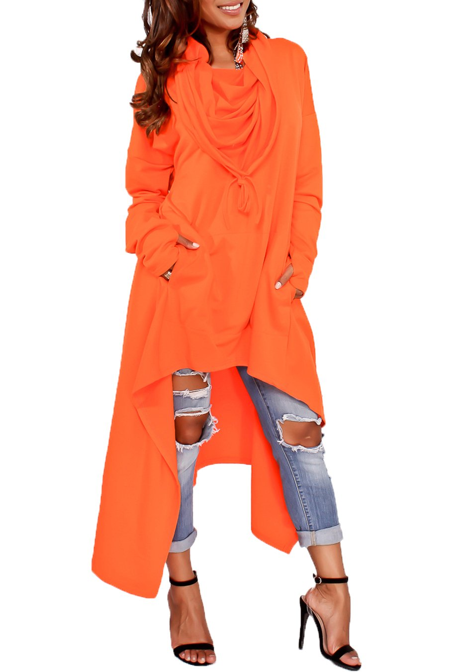 Playworld Womens Irregular Hem Loose Long Sleeve Hooded Tunic Top Dress Orange-M