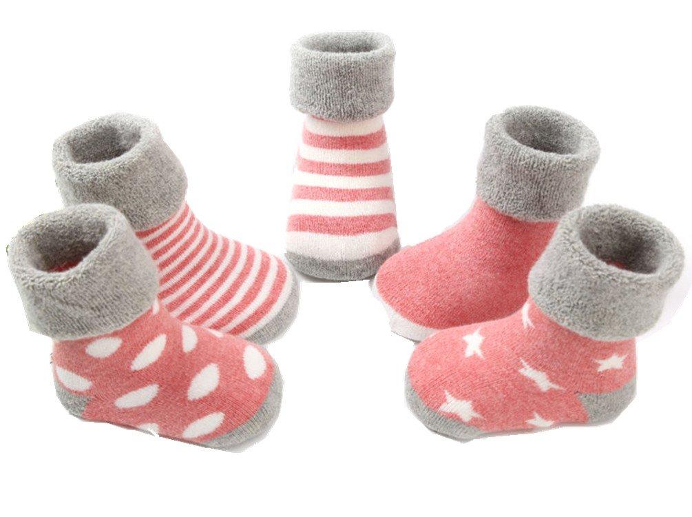 5 paires de chaussettes de bé bé , garç ons et filles chaussettes rembourré es 0-3 ans (Rose 1, S (1-3 Ans)) garçons et filles chaussettes rembourrées 0-3 ans (Rose 1 Stillshine