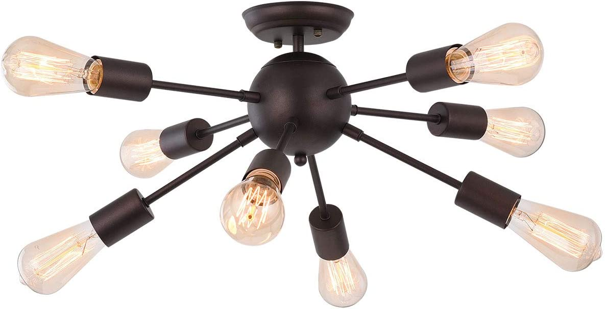 8-Light Sputnik Chandelier Modern Ceiling Light Fixture Flush Mount Oil Rubber Bronze Vintage Industrial Pendant Light Fixture for Kitchen Dining Room Bedroom Living Room Entryway Hallway by TAUSENDE