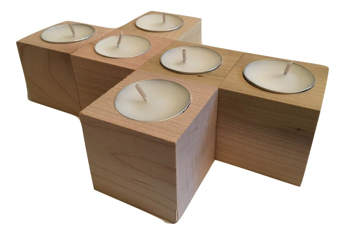 Wooden Rustic Candle Holders, (SET OF 6) Tealight Candles Included, for weddings, home decor, and votives. 2'' in. customizable, hardwood cubes by Crossroad Sales