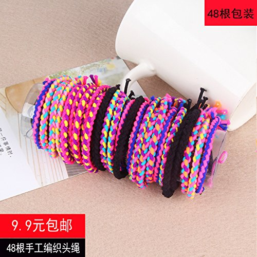 rubber band holster color knot hair band headrope first bar Korean women simple manual knitting for women girl lady ()