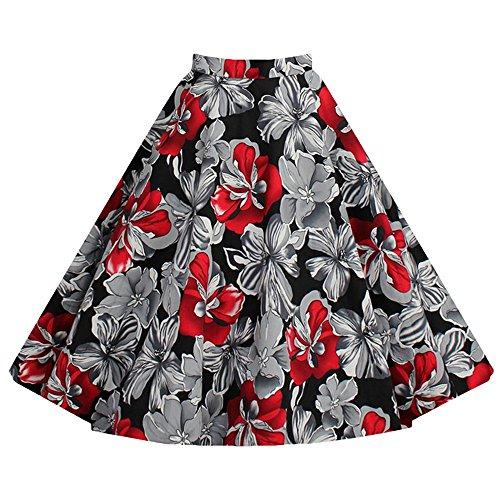 vkstar® para Mujer 50s Vintage Floral Swing Full Circle verano Casual Falda Corto Breve Retro Vintage vestidos Invisible cremallera Rosso