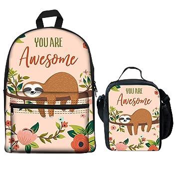 9138e91c28ec Amazon.com | Coloranimal 2 Piece Set School Canvas Bookbag Floral ...