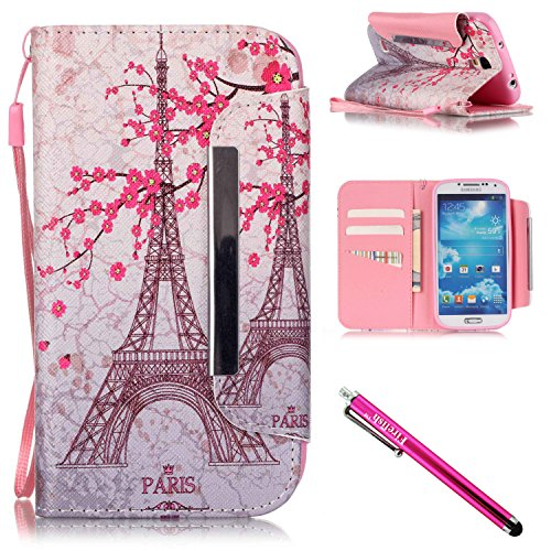 Galaxy S4 Case, Galaxy S4 Wallet Case, Firefish [Kickstand] PU Leather Flip Purse Case Slim Bumper Cover with Lanyard Magnetic Skin for Samsung Galaxy S4 i9500 + including One Stylus-Tower