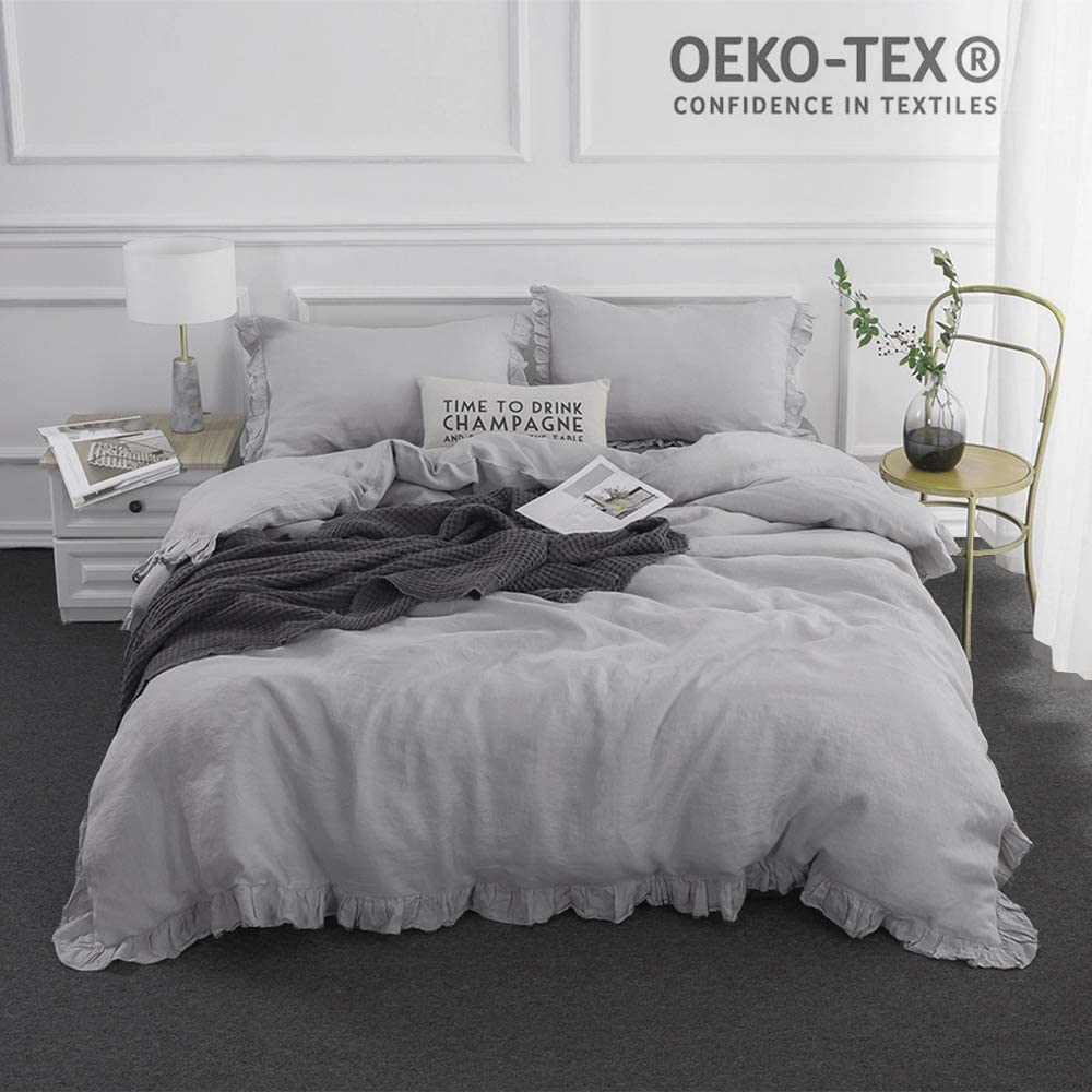 Simple&Opulence 100% Stone Washed Linen Frill Floral Flax Duvet Cover Set(Queen,Grey)
