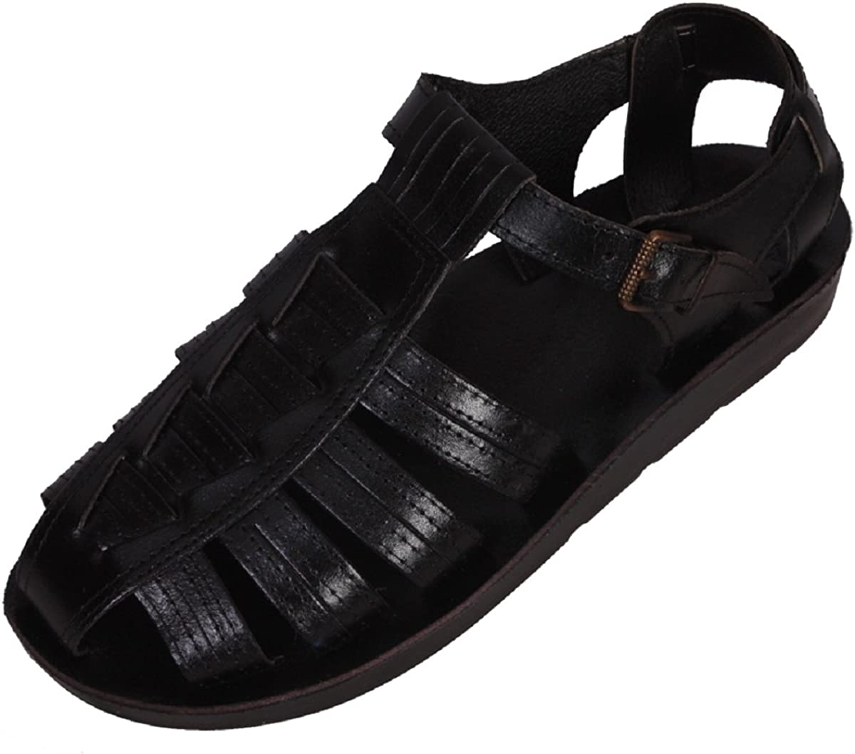 Ferrari Unisex Genuine Black Leather Style #904 Jesus Biblical Greek Roman Sandals