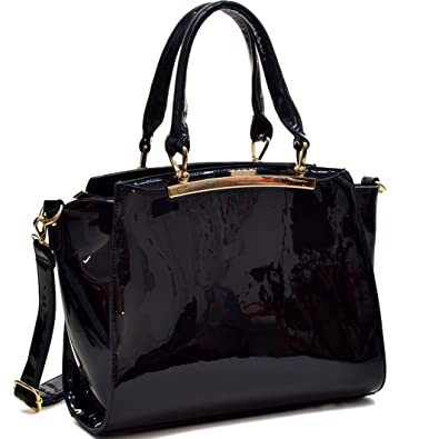 17388276dd Amazon.com  Satchel Crossbody Handbag Fashion Patent Leather Purse  w Compartments Black  Shoes