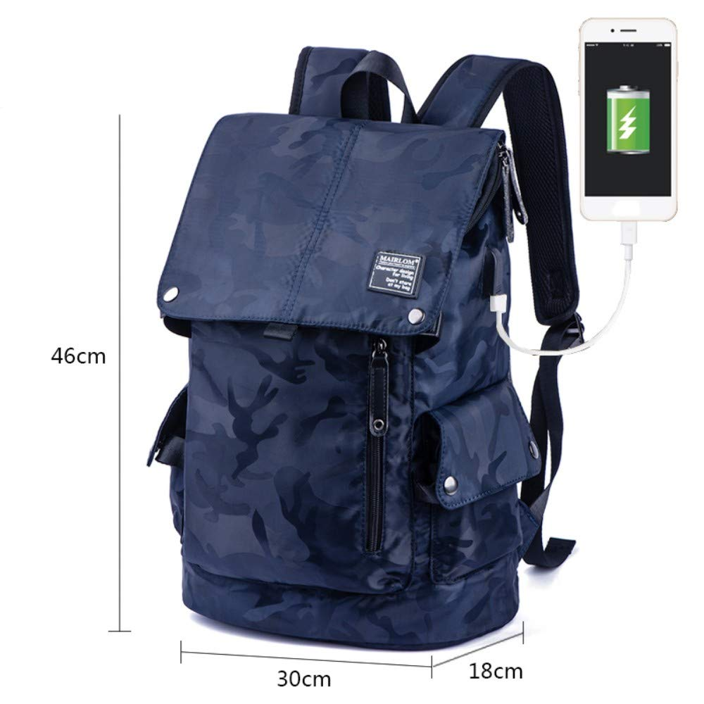 Camouflage Dark bluee Zipper Charging HXG Laptop Backpack 15 Inch Waterproof Travel Bag Fashion Casual Merchant   Lightweight Men and Women Backpack Large Capacity Nylon Fabric with USB Charging Port